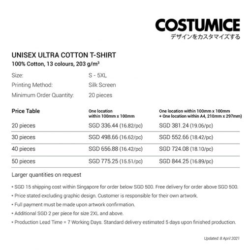 Costumice Design Ultra cotton t-shirt price table-April 2021