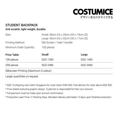 Costumice Design Student backpack price table