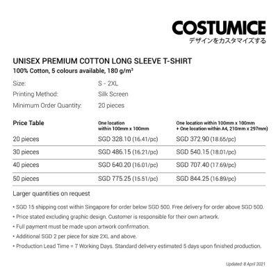 Costumice Design Unisex Premium Cotton long sleeve t-shirt price table-April 2021
