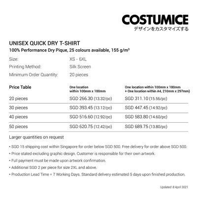 Unisex Quick Dry T-Shirt price table-April 2021