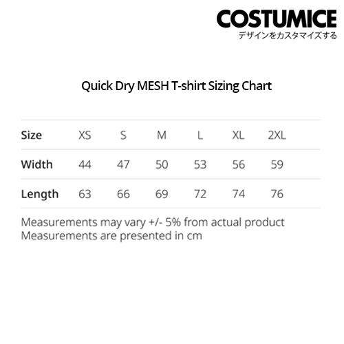 costumice design quick dry mesh t-shirt sizing chart