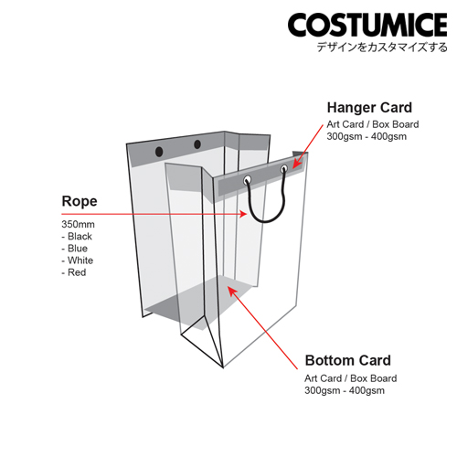 Costumice Design paper bag hanger and bottom cardCostumice Design paper bag hanger and bottom card