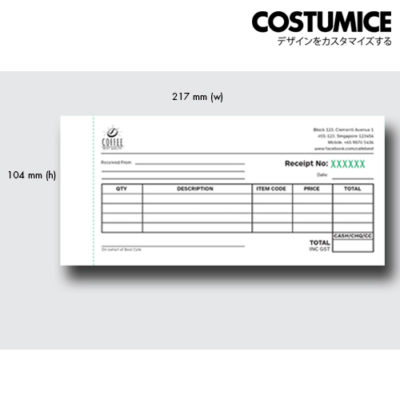 Costumice design mid size receipt book 1