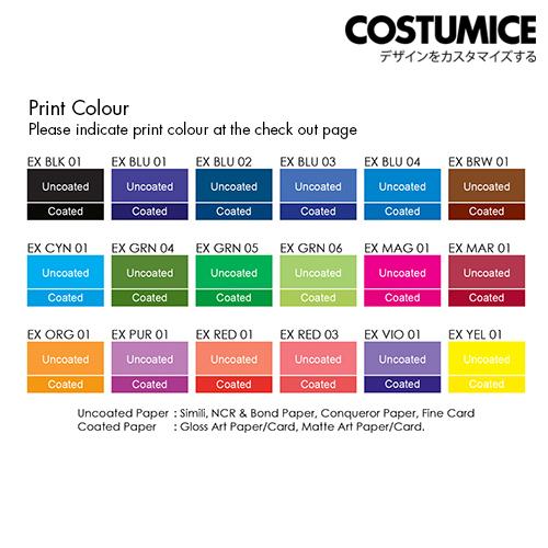Costumice design receipt book spot colour chart