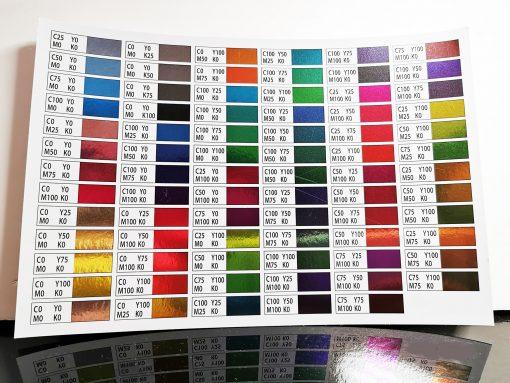 costumice design metalic foil name colour chart