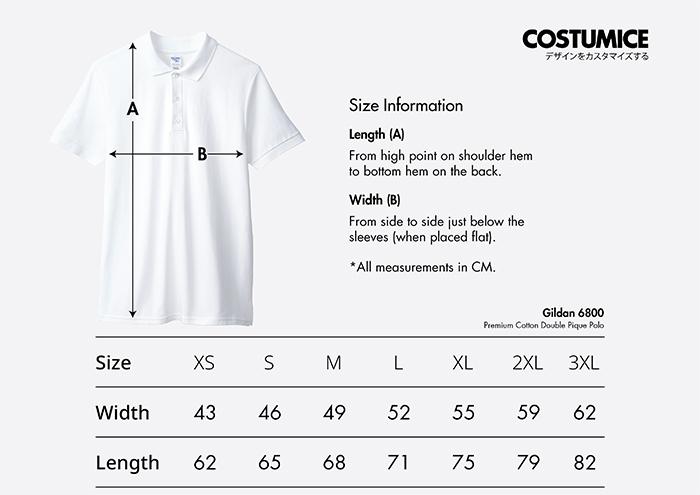 Costumice Design premium cotton double pique polo size information