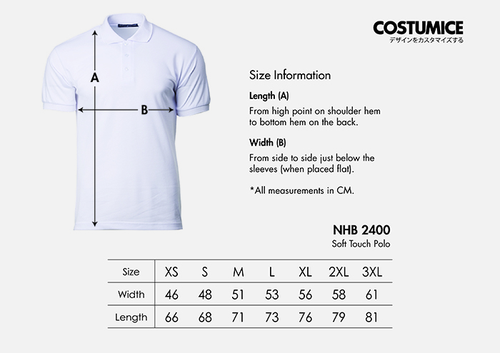 Costumice Design soft touch polo size information