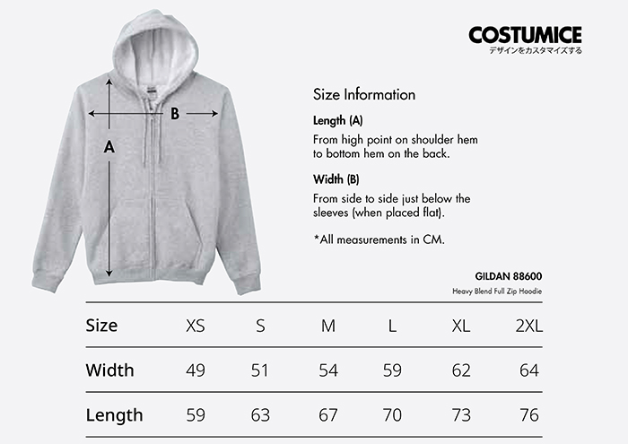 Costumice Design Heavy Blend Full Zip Hoodie size information 2