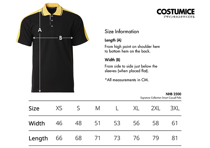 Costumice Design Signature collection smart casual polo size information
