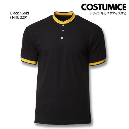 Costumice Design Signature Collection Mandarin Collar Polo - Black+Gold