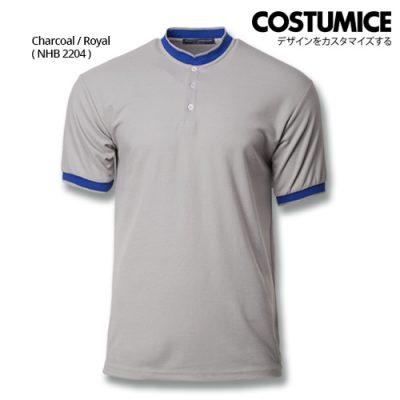 Costumice Design Signature Collection Mandarin Collar Polo - Charcoal+Royal