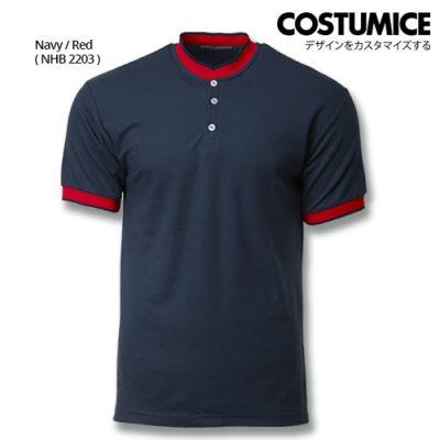 Costumice Design Signature Collection Mandarin Collar Polo - Navy+Red