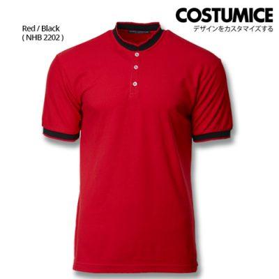 Costumice Design Signature Collection Mandarin Collar Polo - Red+Black