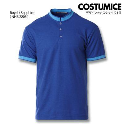 Costumice Design Signature Collection Mandarin Collar Polo - Royal+Sapphire