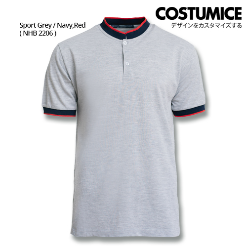 Costumice Design Signature Collection Mandarin Collar Polo - Sport Grey+Navy+Red