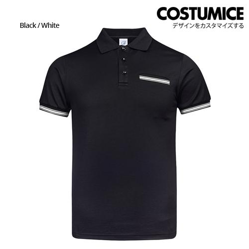Costumice Design Minimalist Pocket Polo - Black+White-Front