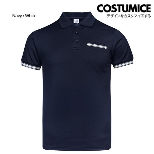 Costumice Design Minimalist Pocket Polo - Navy+White-Front