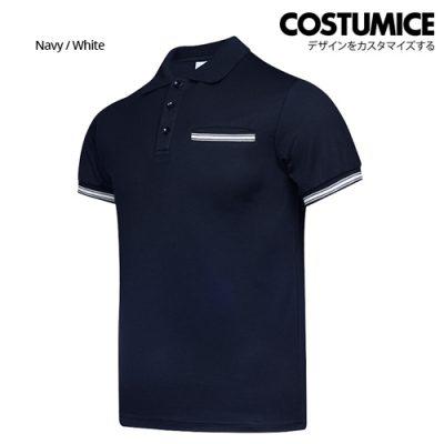 Costumice Design Minimalist Pocket Polo - Navy+White-Side