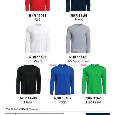 Costumice Design Basic Cotton Long Sleeve T-Shirt Color Options