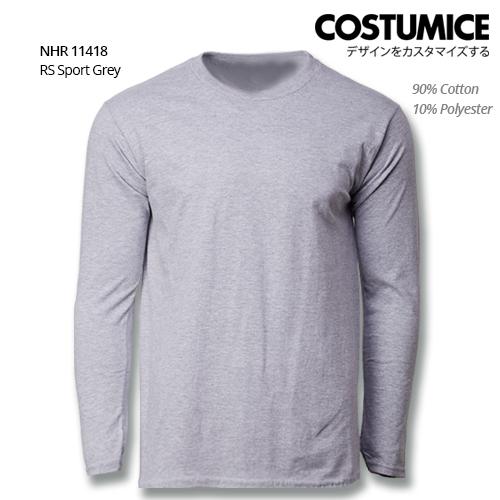 Costumice Design Basic Cotton Long Sleeve T-Shirt-Rs Sport Grey