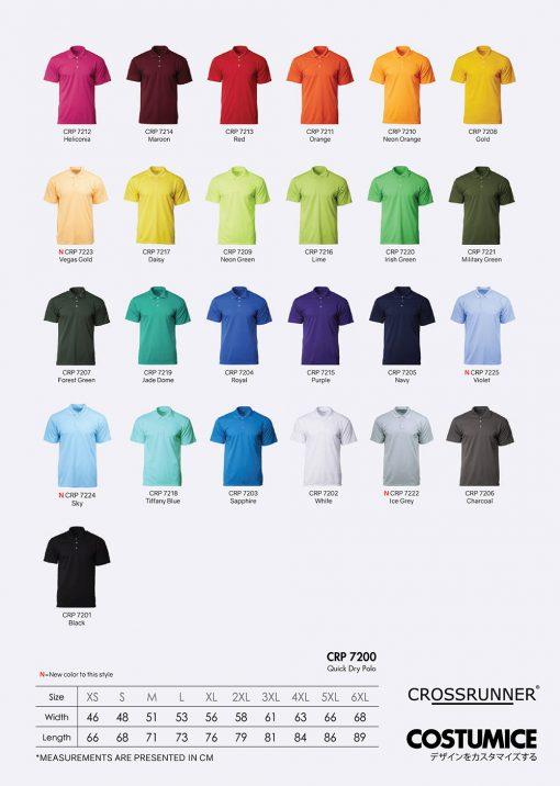 Costumice Design Quick Dry Polo Color Options