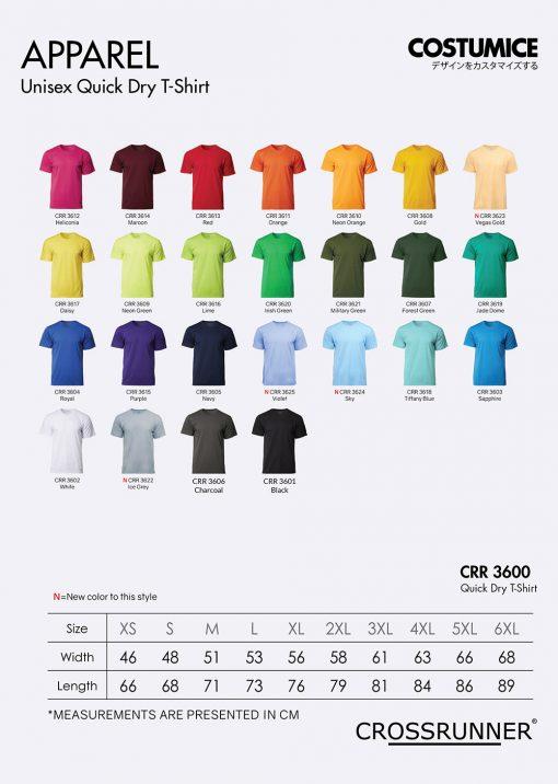 Costumice Design Quick Dry T-Shirt Color Options