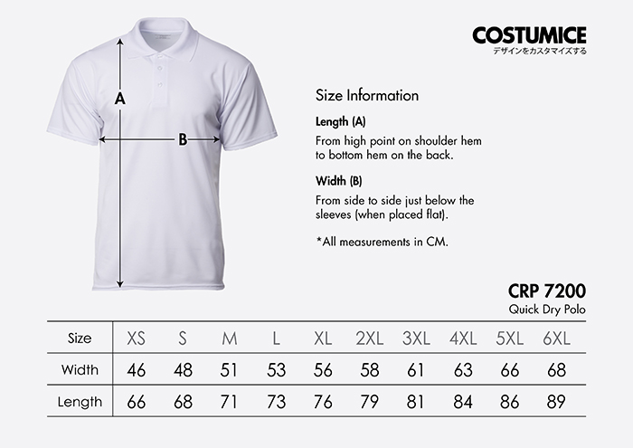 Costumice Design Quick Dry Polo Size Information