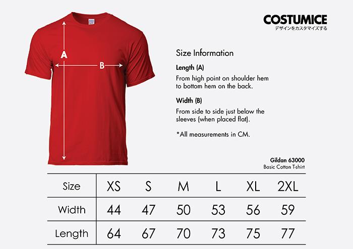 Costumice Design basic cotton t-shirt size information
