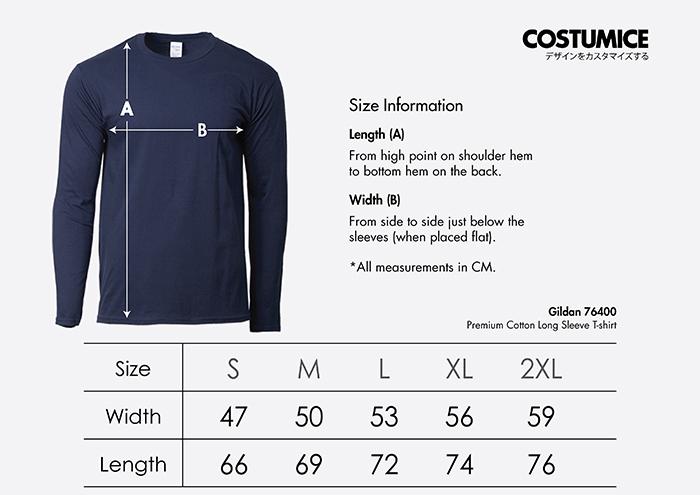 Costumice Design premium cotton long sleeve t-shirt size information
