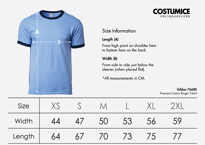 Costumice Design premium cotton ringer t-shirt size information
