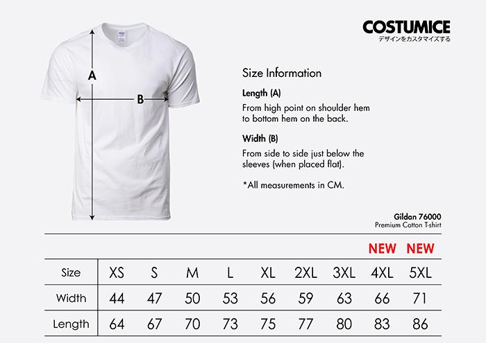 Costumice Design premium cottont-shirt size information