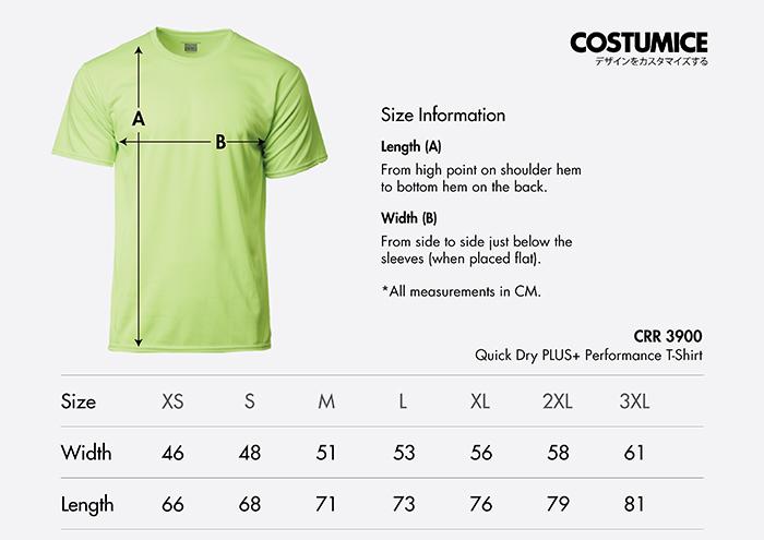 Costumice Design quick dry PLUS+ Performance t-shirt size information