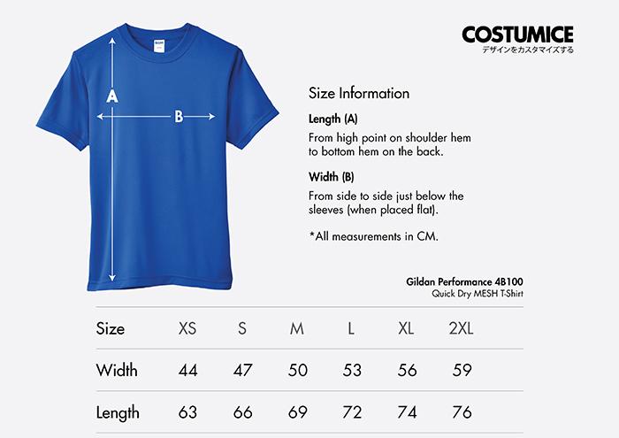 Costumice Design quick dry mesh t-shirt size information