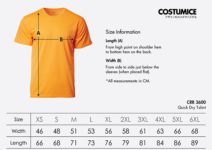 Costumice Design quick dry t-shirt size information