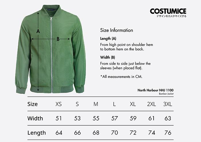 Costumice Design bomber jacket size information